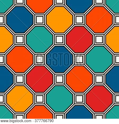 Repeated Octagons Stained Glass Mosaic Background. Vivid Ceramic Tiles. Seamless Pattern With Geomet