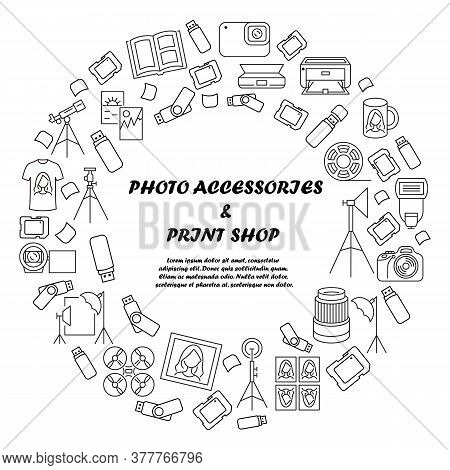 Photo Accessories And Equipment Circle Banner. Template For Print Shop. Copy Center. Photos Of The D