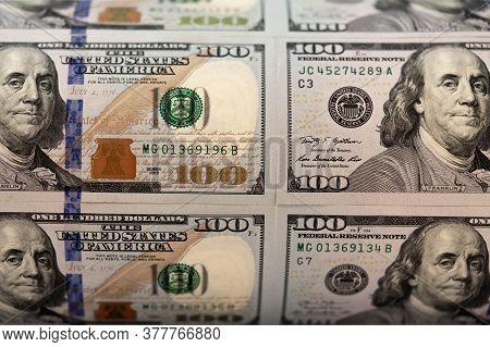 One Hundred Dollars. Benjamin Franklin. Us Dollars Background. Closeup Of A Lot Of Banknotes Hundred