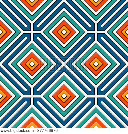 Repeated Diamonds Background. Geometric Motif. Seamless Surface Pattern Design With Retro Colors Rho