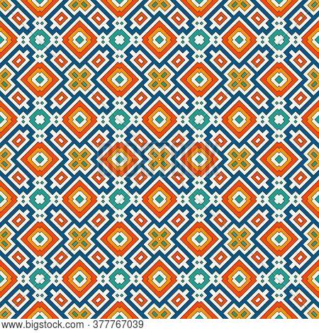 Repeated Bright Diamonds Background. Geometric Motif. Seamless Pattern With Vivid Square Ornament. E