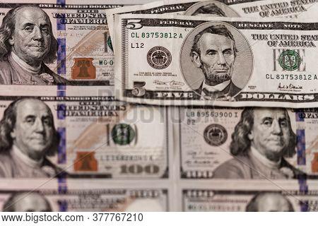 One Hundred Dollars. Us Dollars Background. Closeup Of A Lot Of Banknotes Hundred Dollar Bills. Amer