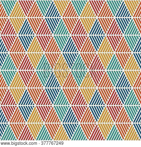 Seamless Pattern With Hatched Diamonds. Argyle Wallpaper. Rhombuses And Lozenges Motif. Repeated Geo