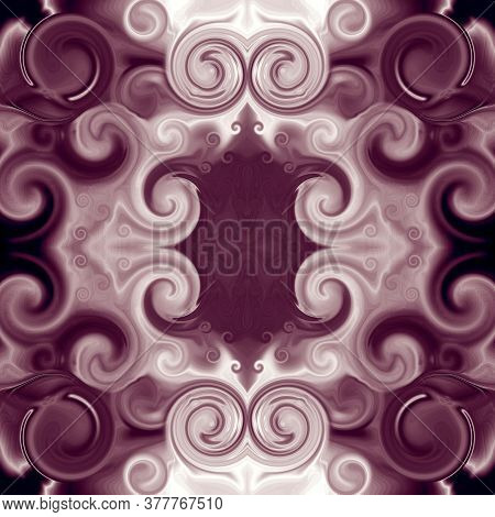 Elegant Baroque Ornament With Scrollworks And Circle Motifs. Symmetric Pattern In Bordo Hues. Abstra