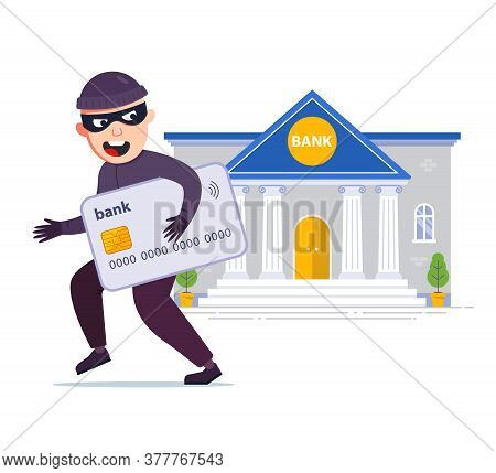 A Thief Stole A Credit Card From A Bank. Steal Money And Passwords. Flat Character Vector Illustrati