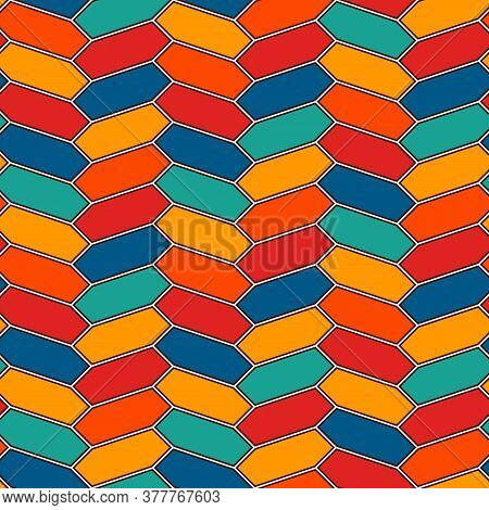 Seamless Pattern With Vertical Braid Ornament. Outline Octagons Tile Surface Background. Symmetric G