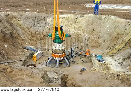 Demolition Of Oil Well Equipment. The Old Liquidated Well.