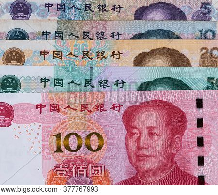 One Hundred, Fivty, Twenty, Ten, Five Chinese Renminbi Rmb Bills. Cny Background. Closeup Of Mao Zed
