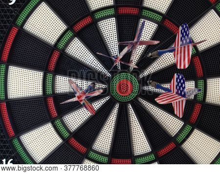 Bullseye Darts Dartboard With American And Britain Flag Trade Political Allies Concept