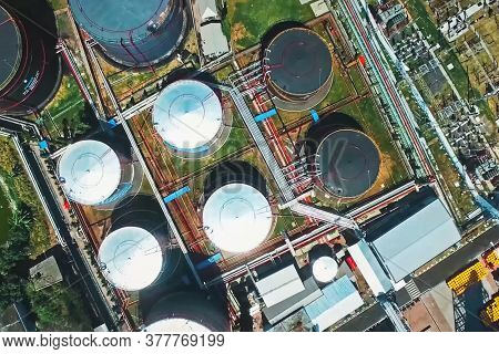 Oil Tanks At An Oil Refinery. Oil Tanks At An Oil Refinery.