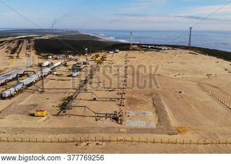 Oil Wells In An Oil Field. Oil Well Group.