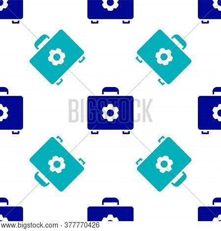 Blue Toolbox Icon Isolated Seamless Pattern On White Background. Tool Box Sign. Vector Illustration