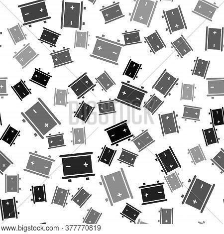Black Car Battery Icon Isolated Seamless Pattern On White Background. Accumulator Battery Energy Pow