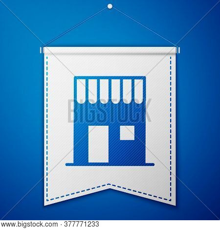 Blue Coffee Shop Icon Isolated On Blue Background. White Pennant Template. Vector Illustration