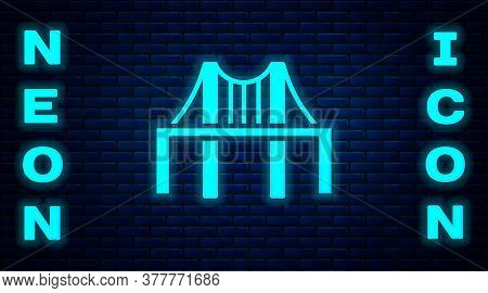 Glowing Neon Golden Gate Bridge Icon Isolated On Brick Wall Background. San Francisco California Uni