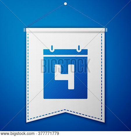 Blue Day Calendar With Date July 4 Icon Isolated On Blue Background. Usa Independence Day. 4th Of Ju