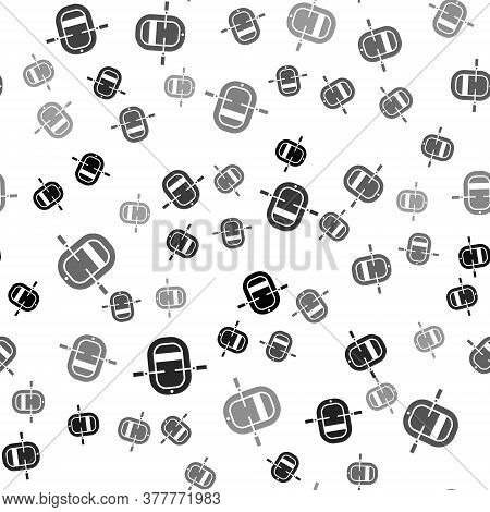 Black Rafting Boat Icon Isolated Seamless Pattern On White Background. Inflatable Boat With Paddles.