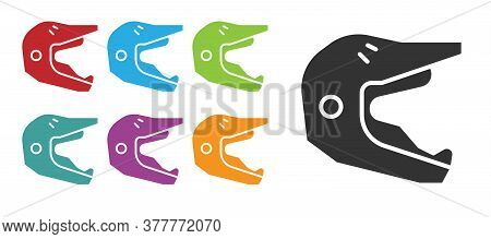 Black Motocross Motorcycle Helmet Icon Isolated On White Background. Set Icons Colorful. Vector Illu