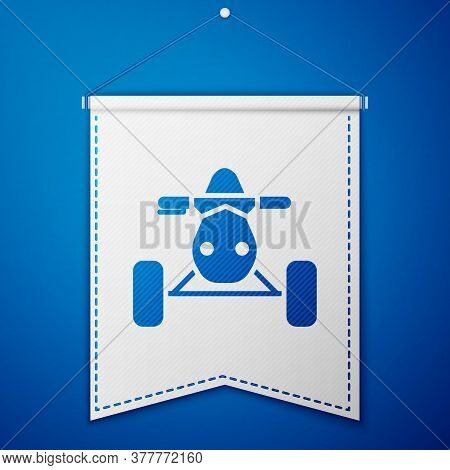 Blue All Terrain Vehicle Or Atv Motorcycle Icon Isolated On Blue Background. Quad Bike. Extreme Spor