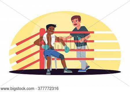 Male Boxer Receiving Training Manager Guidance Rest In Ring Corner Between Rounds. Box Fight Club. P