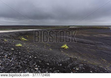 Black Lava Field Near Skaftafell National Park, Ring Road, Southeast Iceland.