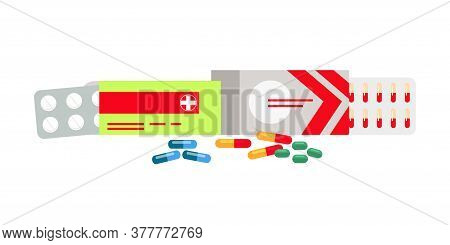 Tablets And Capsules In Blister, Paper Packages. Pharmaceutical Set Isolated On White. Painkillers,