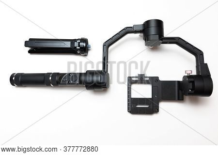 Dslr Camera Gimbal Three-axis Motorized Stabilizer Tripod System On A White Background, Isolated