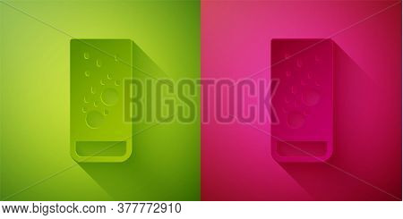 Paper Cut Effervescent Aspirin Tablets Dissolve In A Glass Of Water Icon Isolated On Green And Pink