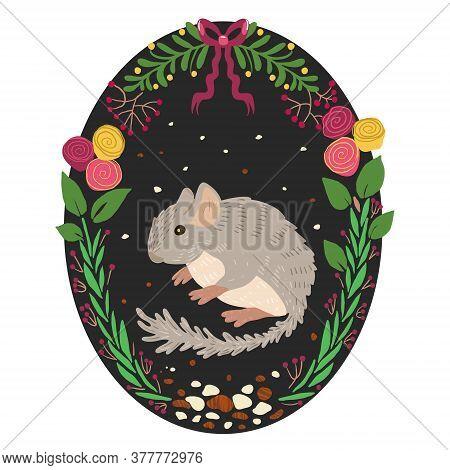 Cute Gray Fluffy Chinchilla, Pet, Vector Art Print