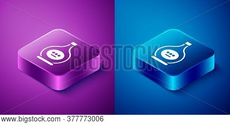Isometric Bottle Of Cognac Or Brandy Icon Isolated On Blue And Purple Background. Square Button. Vec