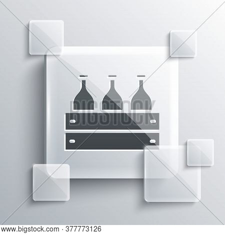 Grey Bottles Of Wine In A Wooden Box Icon Isolated On Grey Background. Wine Bottles In A Wooden Crat