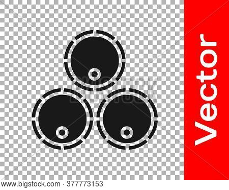 Black Wooden Barrels Icon Isolated On Transparent Background. Alcohol Barrel, Drink Container, Woode