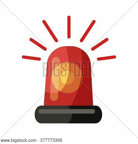 Red Police, Ambulance, Fire Alarm Siren Alert Emergency Effect Flasher Isolated On White. Cartoon Fi