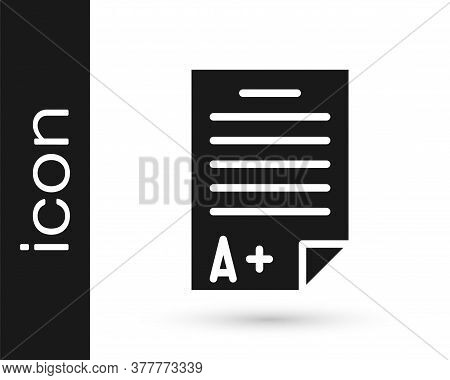 Grey Exam Sheet With A Plus Grade Icon Isolated On White Background. Test Paper, Exam, Or Survey Con