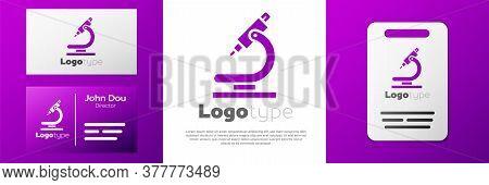 Logotype Microscope Icon Isolated On White Background. Chemistry, Pharmaceutical Instrument, Microbi