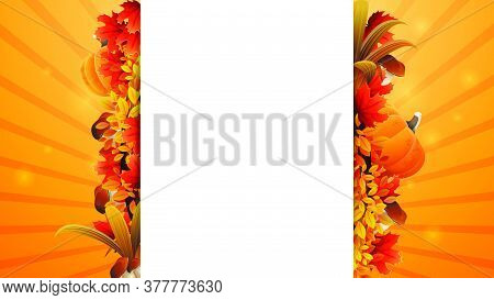 Autumn Banner Template Design With A White Large Stripe For Text In The Middle Decorated Autumn Elem