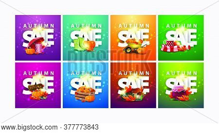 Autumn Sale, Large Collection Of Square Discount Banners With 3d Text And Autumn Elements. Green, Or