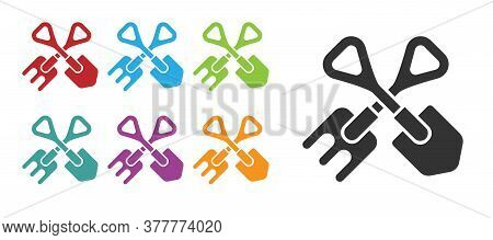 Black Shovel And Rake Icon Isolated On White Background. Tool For Horticulture, Agriculture, Gardeni
