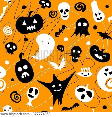 Seamless Happy Halloween Pattern. Black White Ghost, Pumpkin, Skeleton, Skulls On Line Orange Backgr