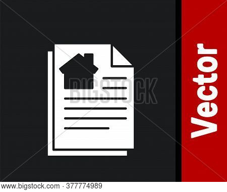 White House Contract Icon Isolated On Black Background. Contract Creation Service, Document Formatio