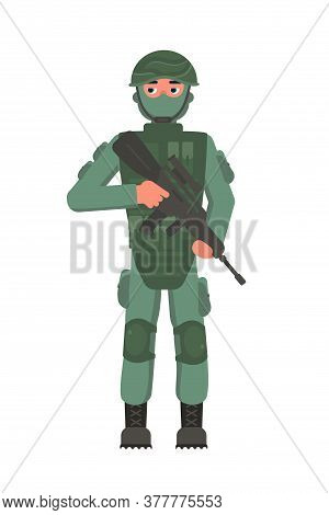 Infantryman Military Character Holding Assault Rifle In Hand. Brave Man Foot Soldier In Camouflage,