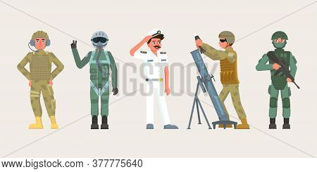 Military Male Character Set People In Various Occupations. Infantryman With Assault Rifle, Artillery