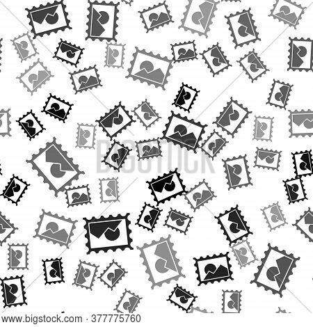 Black Postal Stamp Icon Isolated Seamless Pattern On White Background. Vector Illustration