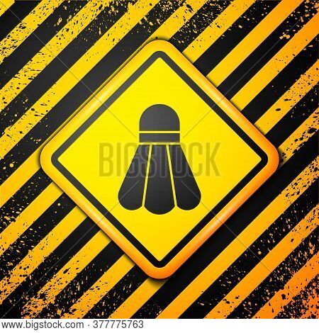 Black Badminton Shuttlecock Icon Isolated On Yellow Background. Sport Equipment. Warning Sign. Vecto