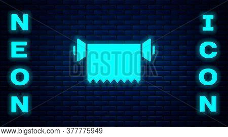 Glowing Neon Textile Fabric Roll Icon Isolated On Brick Wall Background. Roll, Mat, Rug, Cloth, Carp
