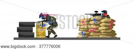 Enemy Firing From Cover Made Of Sandbag And Disabling. Paintball Attack. Team Confrontation. Person