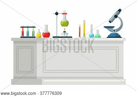 Chemical Lab Equipment On Table Flat Vector Illustration. Scientific Tools, Microscope, Flasks With