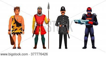 Guard And Surveillance Development In Cartoon Scene. Prehistorical, Medieval, Vulgar Century Or Mode