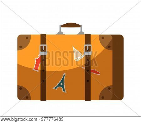 Travel Baggage Suitcase Isolated On White Background. Old Vintage Leather Briefcase With Sightseeing