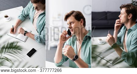 Collage Of Freelancer Talking On Smartphone And Checking Time While Writing At Table, Concept Of Tim